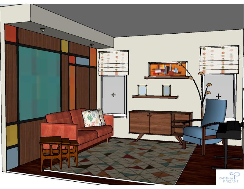 Aliso Viejo Mid-Century Modern rendering