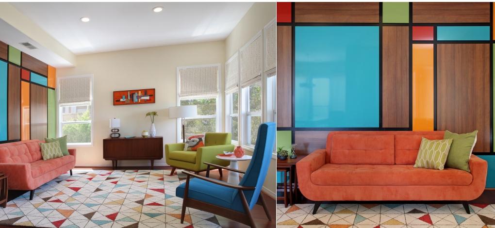 Aliso Viejo mid century living room interior design