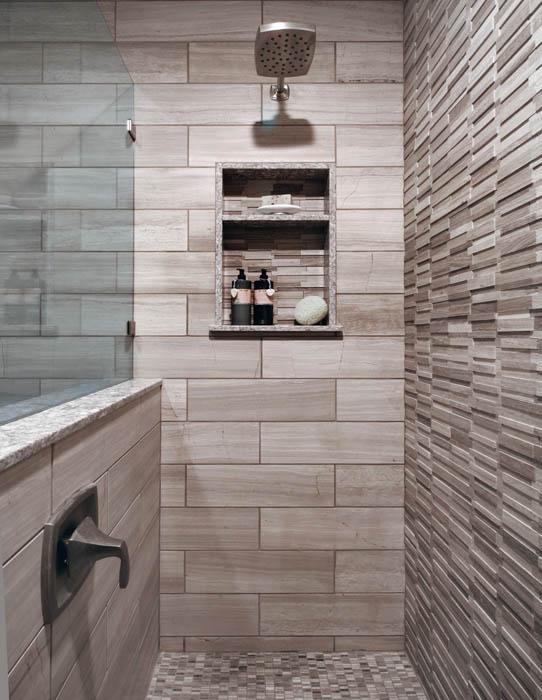 Ladera Ranch Contemporary Bathroom shampoo niche